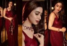 Aarti Ravi in a maroon sabyasachi saree -Featured