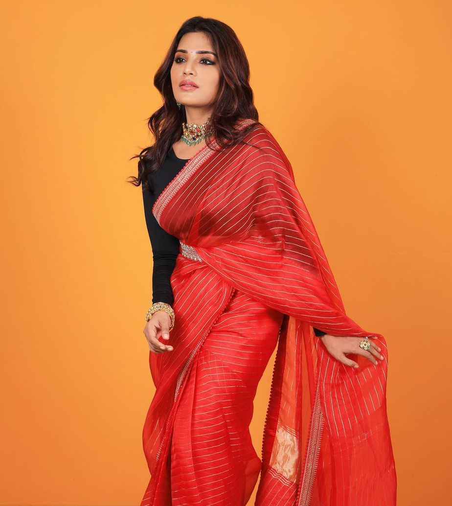 Aatmika in a red striped saree by Prisej store -1.2