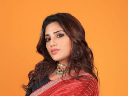 Aatmika in a red striped saree by Prisej store -1.3