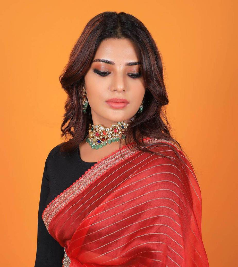 Aatmika in a red striped saree by Prisej store -1.4