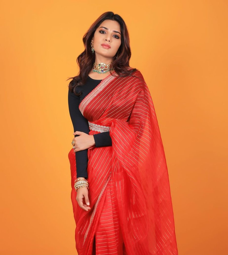 Aatmika in a red striped saree by Prisej store 1.5