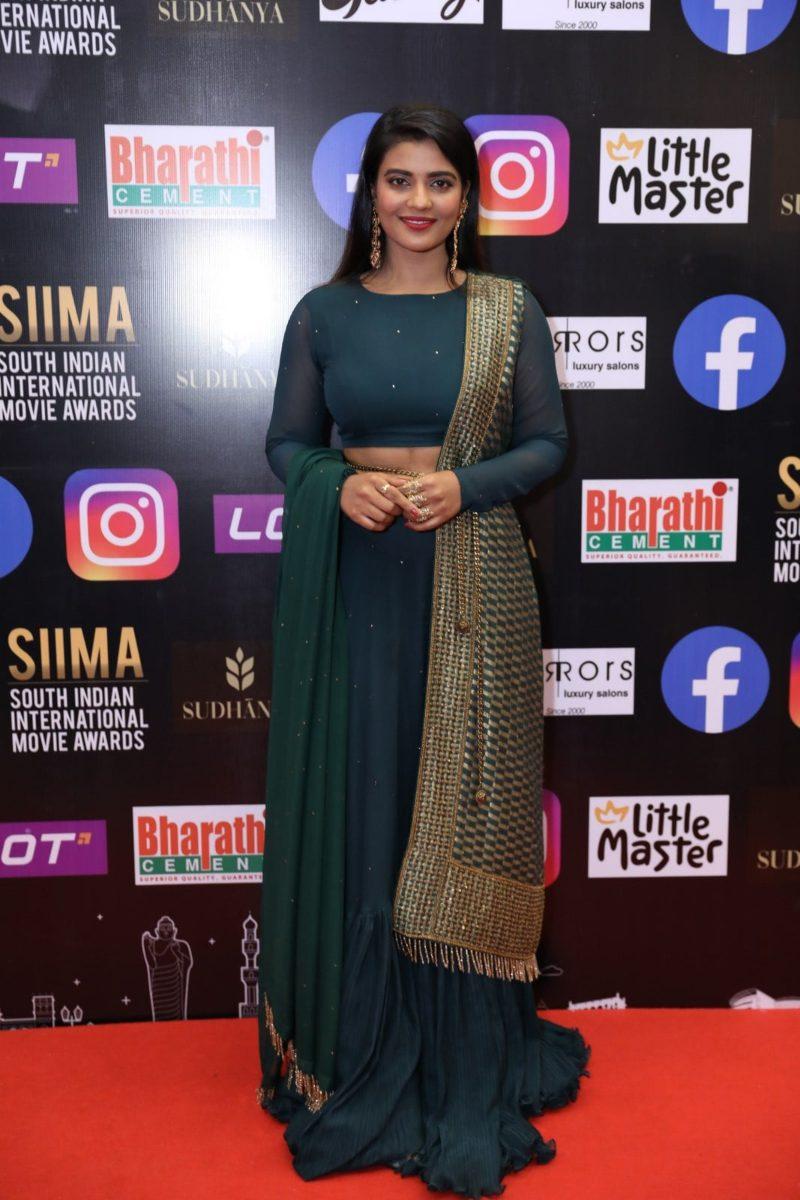 Aishwarya rajesh in a green lehenga set for SIIMA 2021