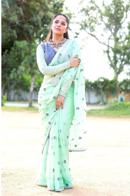 Anasuya Bharadwaj in a sea green saree by vasavi couture for jabardasth