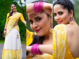 Anasuya Bhradwaj in yellow half saree by Gauri Naidu for Jabardasth-Featured