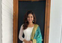 Anjali in white bhargavi kunam anarkali set for RC15-launch