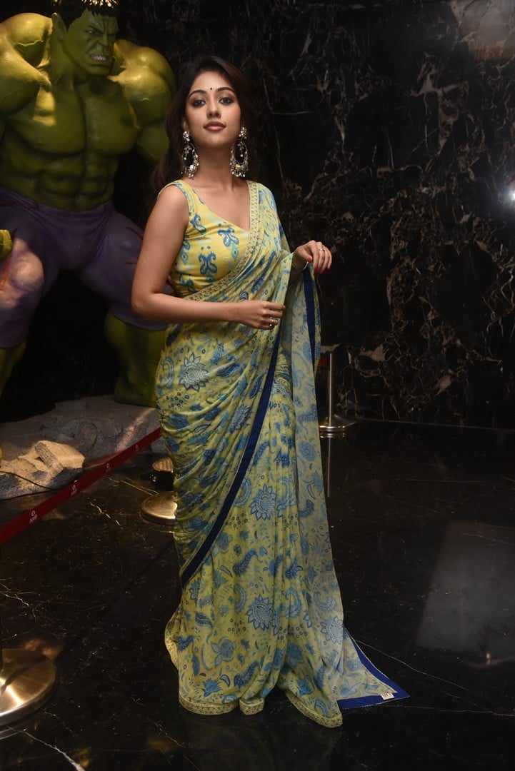 Anu Immanuel in a yellow printed saree for _Mahasamudram_ trailer launch-2