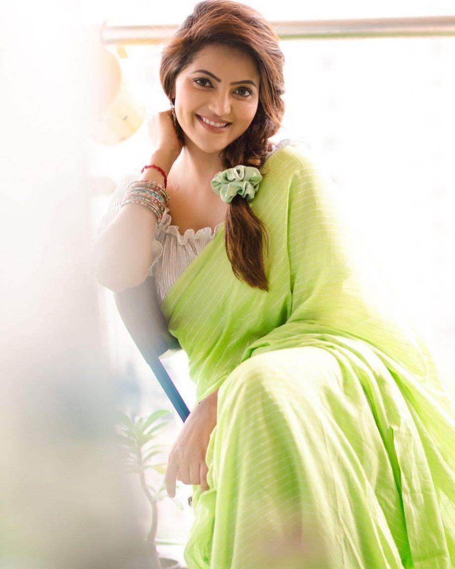 Athulyaa Ravi in a pear green saree by label pavishka-1
