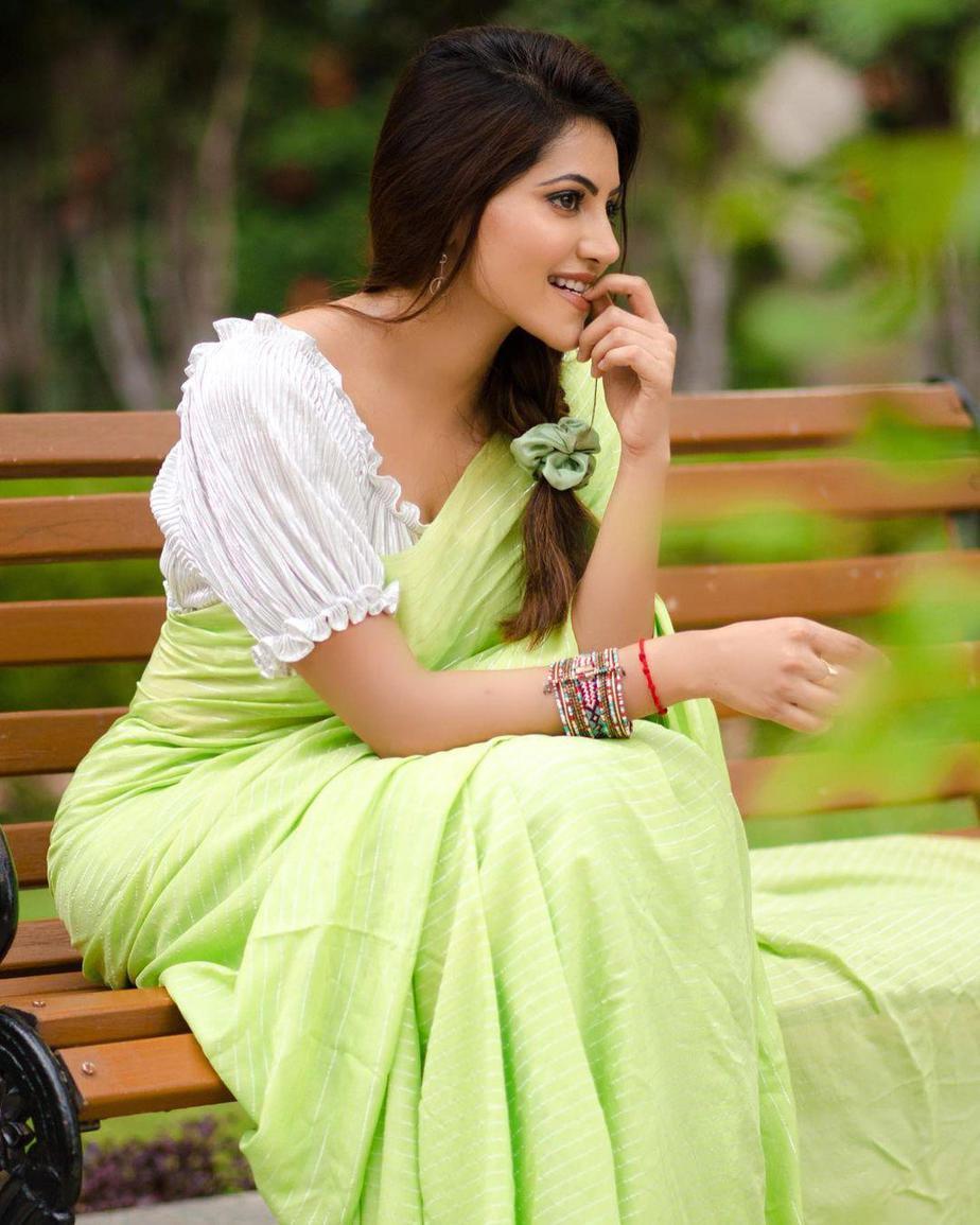 Athulyaa Ravi in a pear green saree by label pavishka-2
