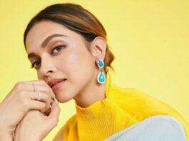 Deepika Padukone in a powder blue Payal Khandwal saree for kbc-3