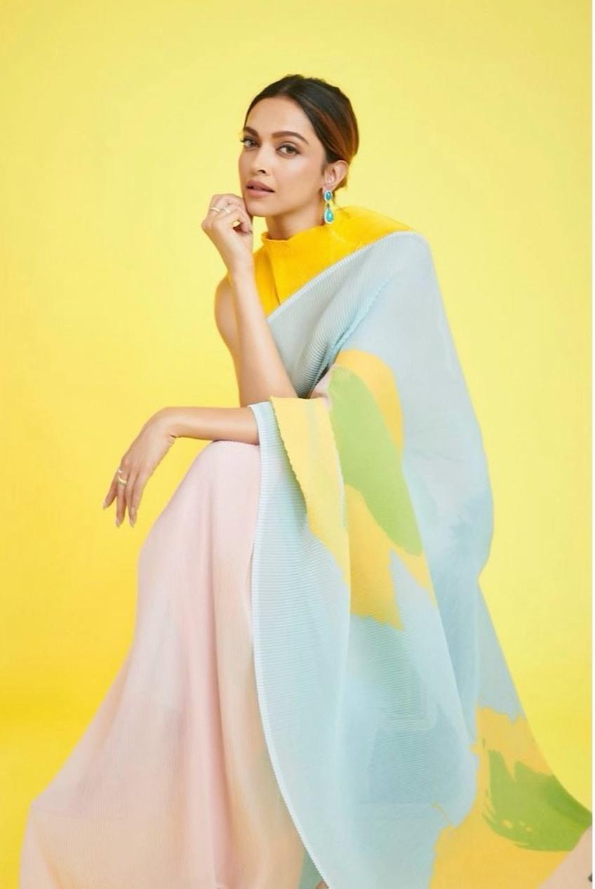 Deepika Padukone in a powder blue Payal Khandwal saree for kbc