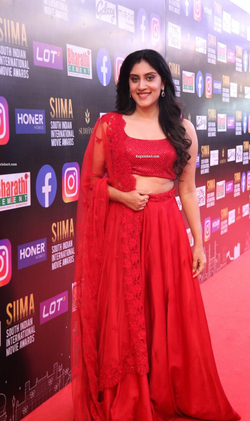 Dhanya Balakrishna in a red lehenga at SIIMA-2021-2