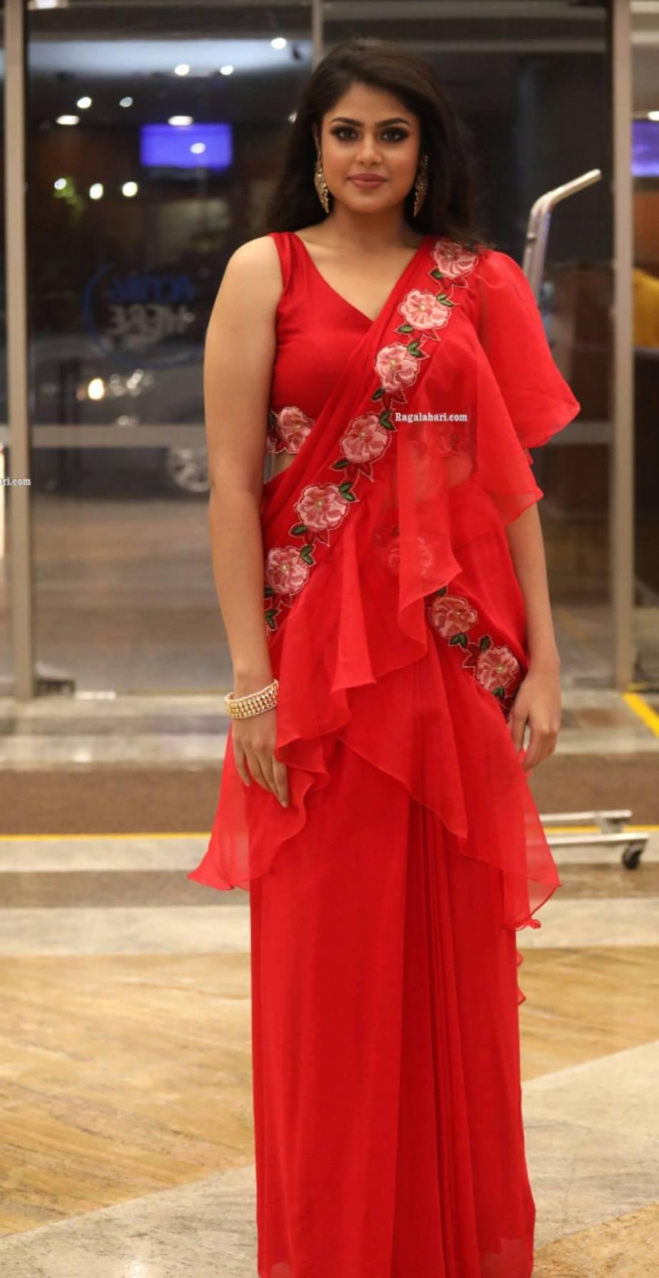 Faria Abdullah in ared pre draped saree by Sushma Reddy for SIIMA 2021-2