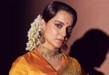 Kangana Ranaut in a yellow pattu saree for The Kapil Sharma Show-1