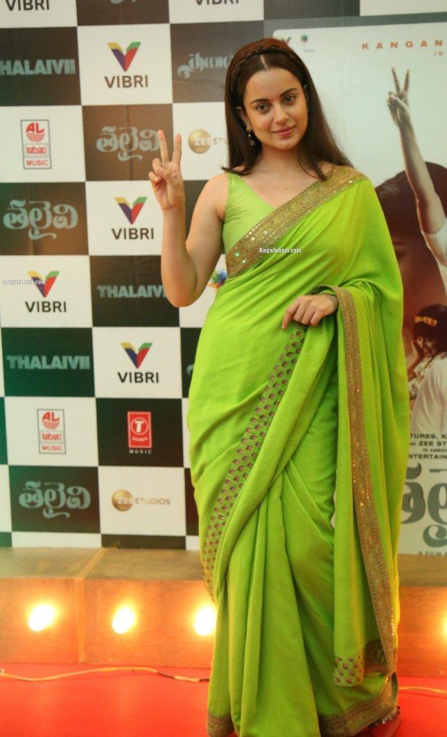 Kangana Ranaut in a green sabyasachi saree for Thalaivi pre-release event-2