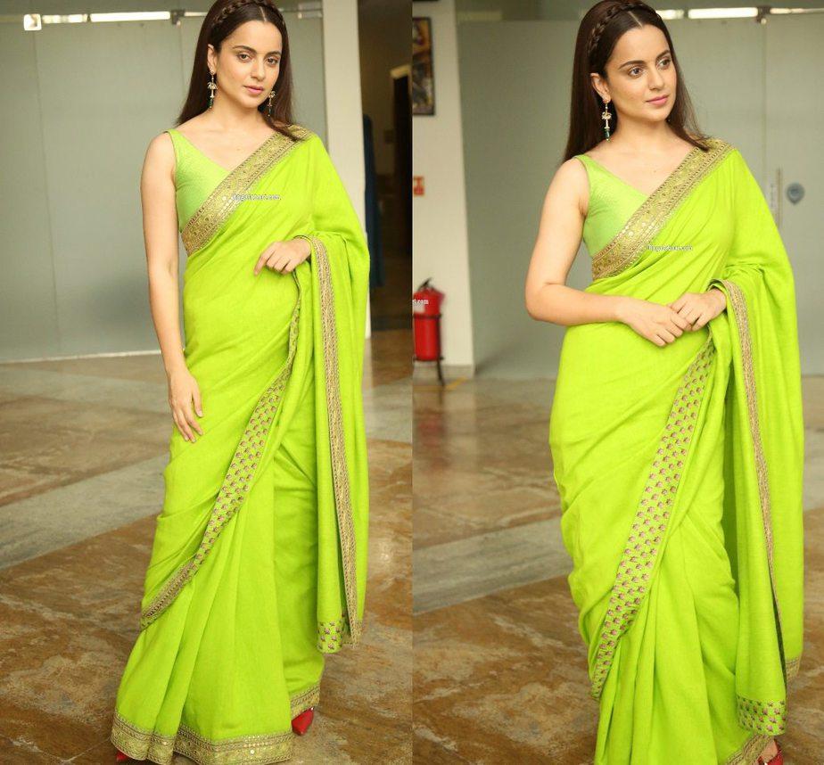 Kangana Ranaut in a green sabyasachi saree for Thalaivi pre-release event-4
