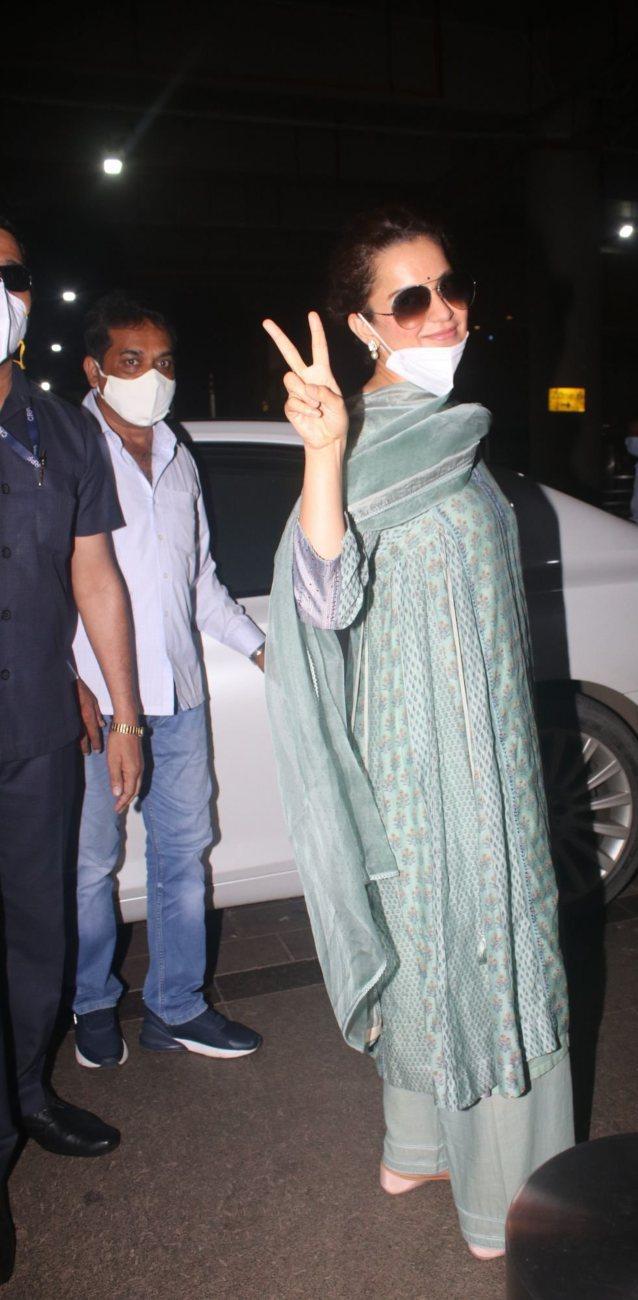 Kangana Ranaut in a pistachio green kurta set at the airport