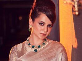 Kangana Ranaut in an ivory saree for thalavi promotions-1