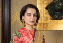 Kangana Ranaut in brown sabyasachi saree for Thalaivi special screening-1