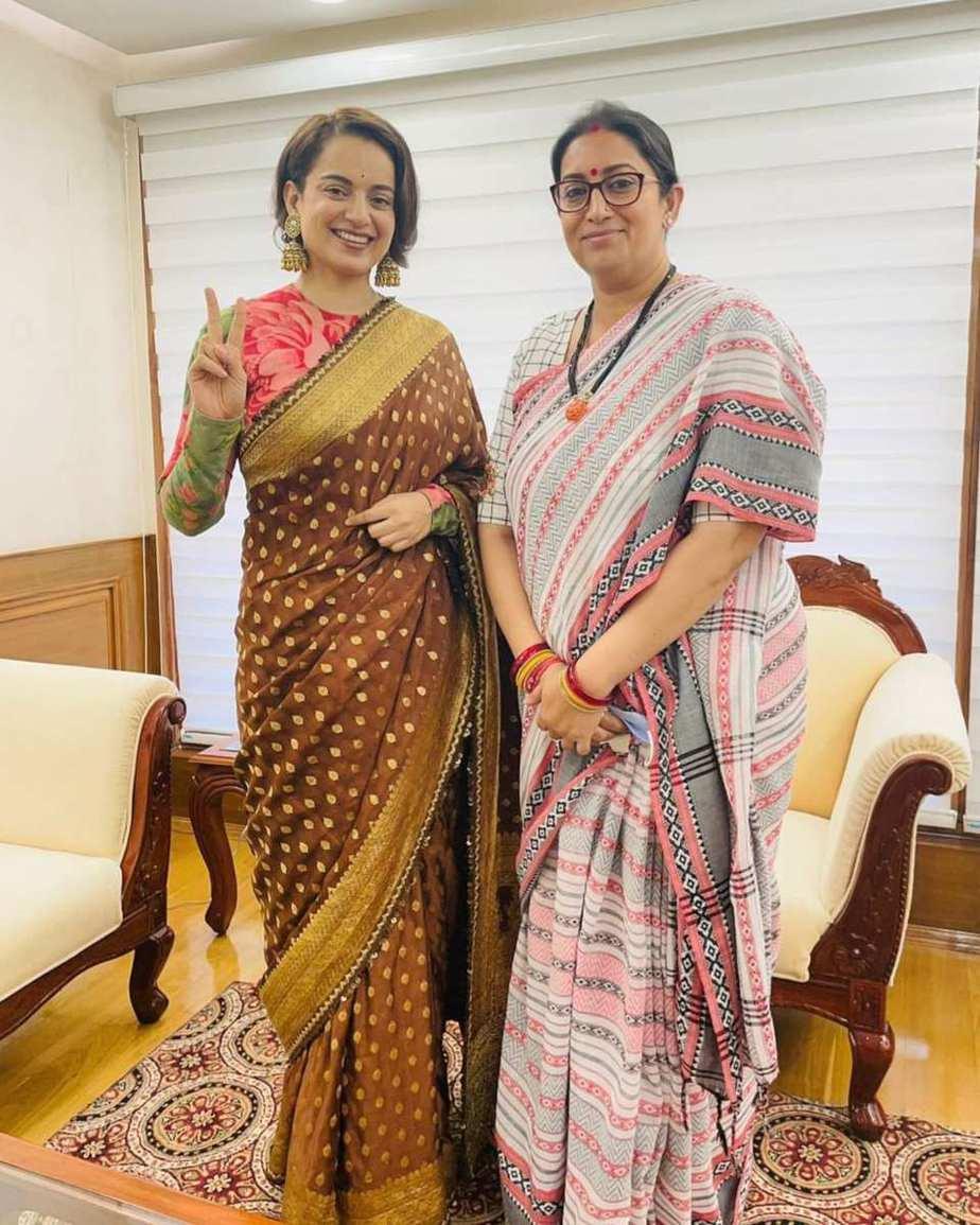 Kangana Ranaut in brown sabyasachi saree for Thalaivi special screening-4