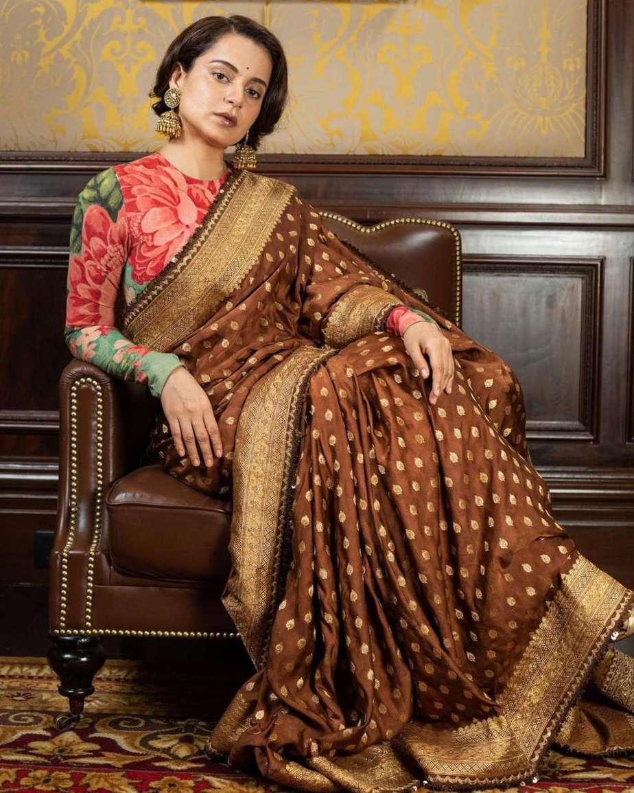 Kangana Ranaut in brown sabyasachi saree for Thalaivi special screening