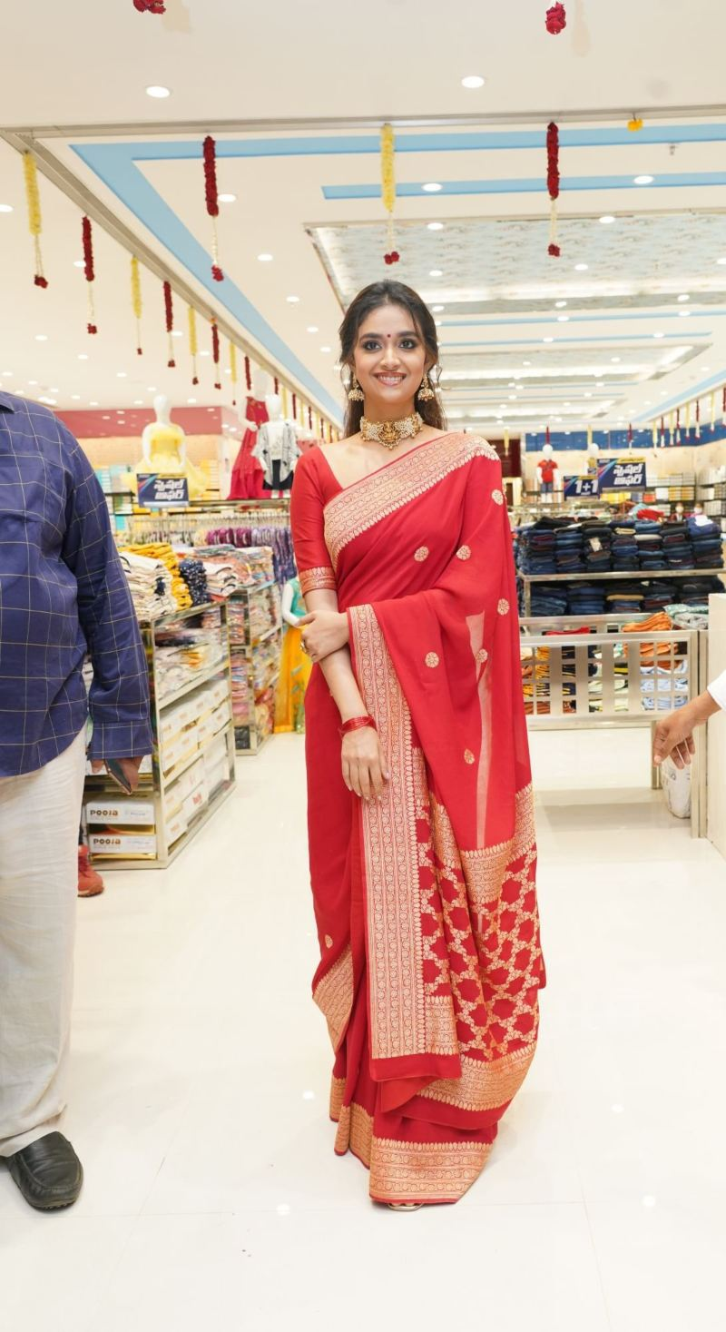 Keerthy Suresh in a red pattu saree for a shopping mall opening-1