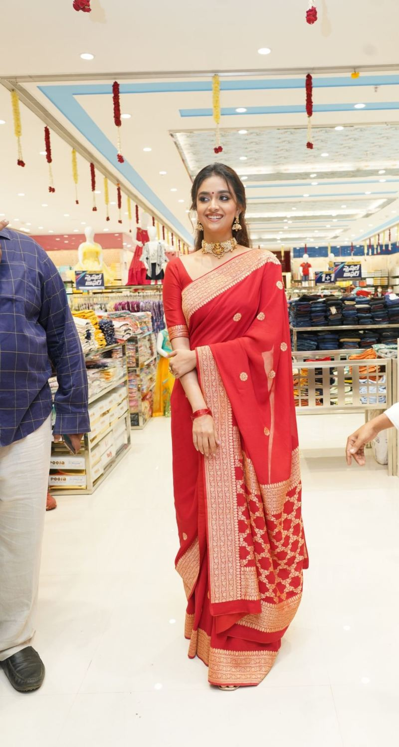 Keerthy Suresh in a red pattu saree for a shopping mall opening-2