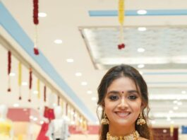 Keerthy Suresh in a red pattu saree for a shopping mall opening-3