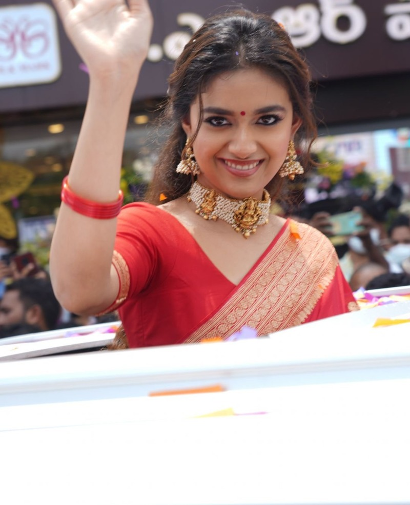 Keerthy Suresh in a red pattu saree for a shopping mall opening-4