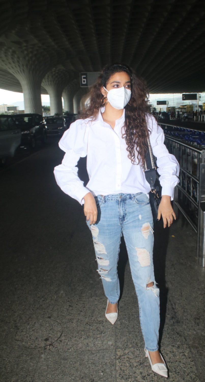 Keerthy Suresh in a white shirt-denim at airport
