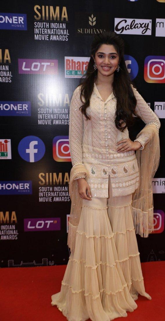Krithi Shetty in beige kurta-set for SIIMA-2021-2
