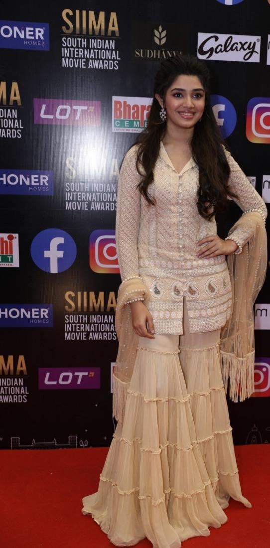 Krithi Shetty in beige kurta-set for SIIMA-2021
