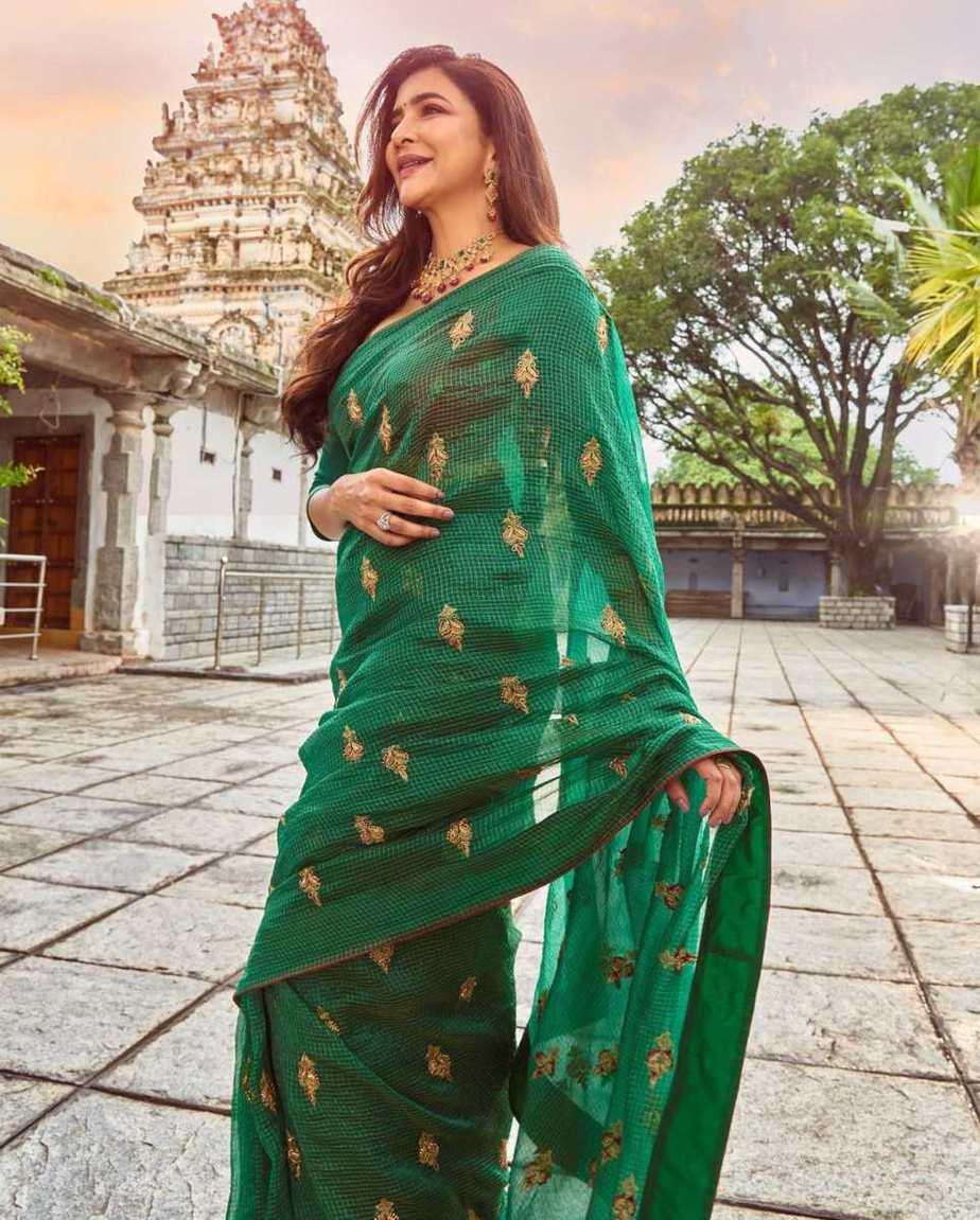 Lakshmi Manchu in a green saree-5