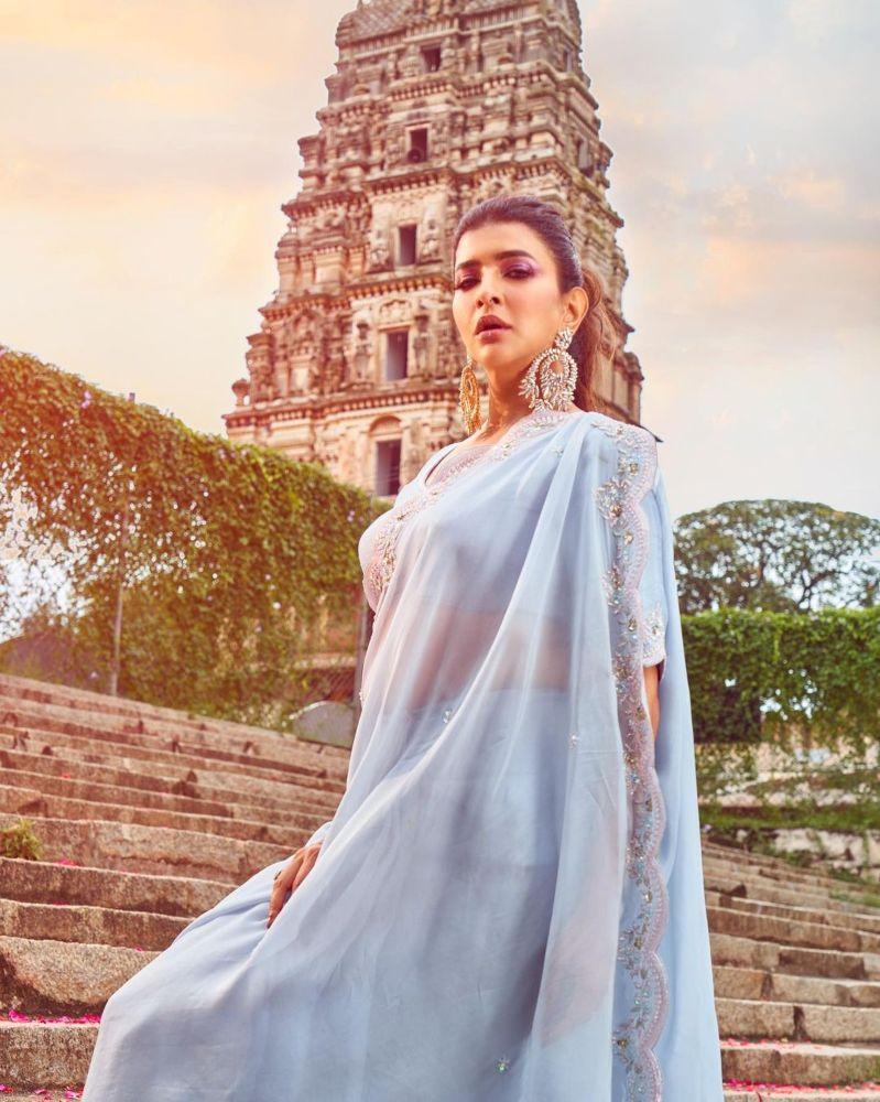 Lakshmi Manchu in a powder blue saree-2