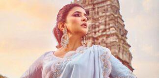 Lakshmi Manchu in a powder blue saree-3