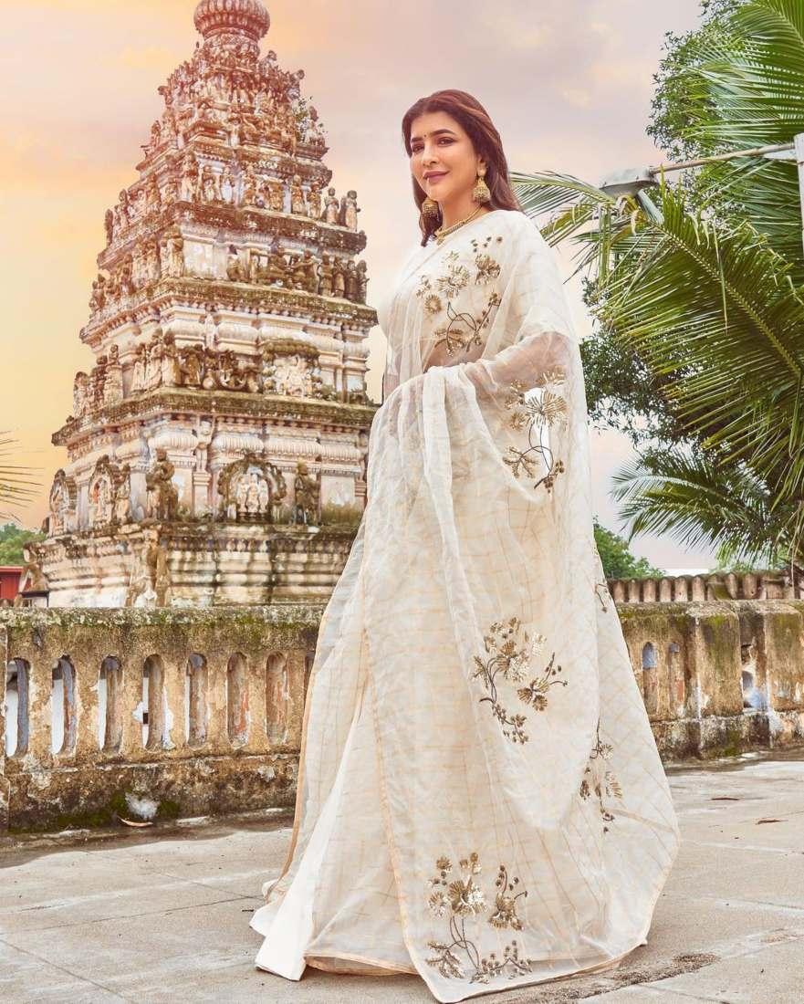 Lakshmi Manchu in a white saree-1