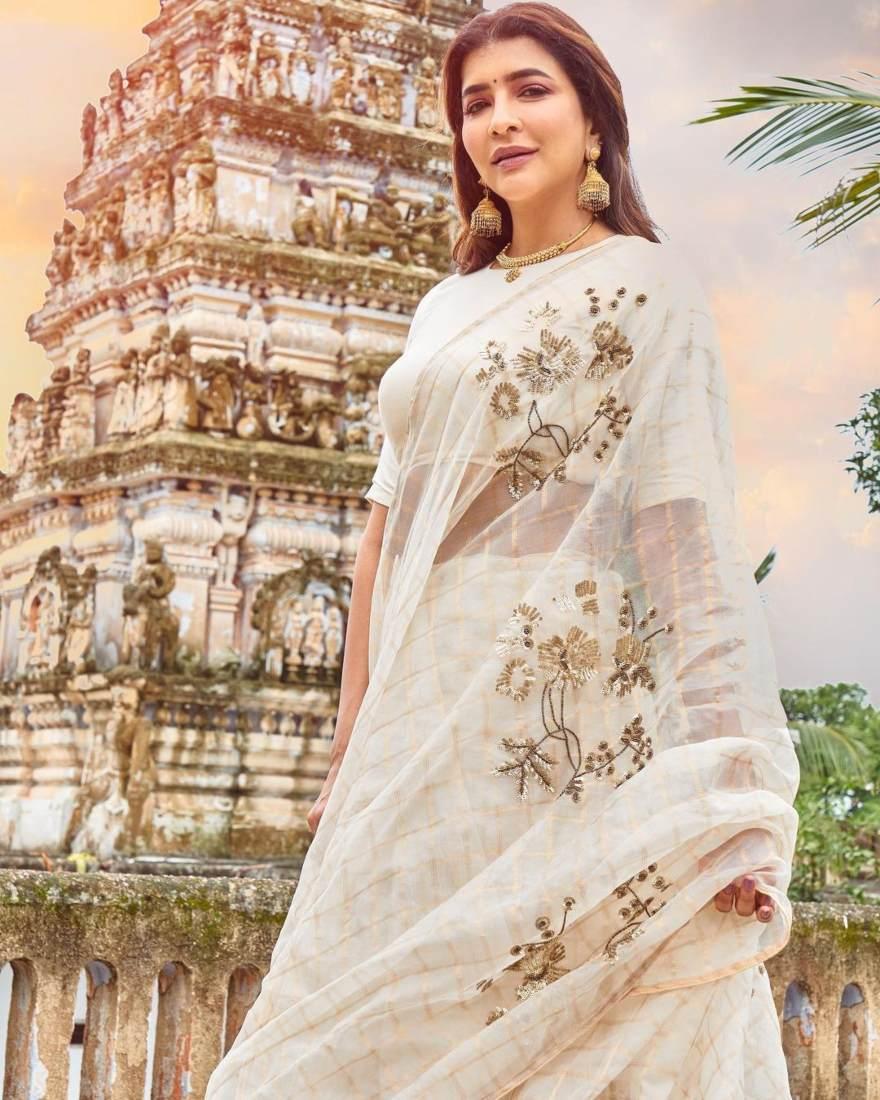 Lakshmi Manchu in a white saree-2