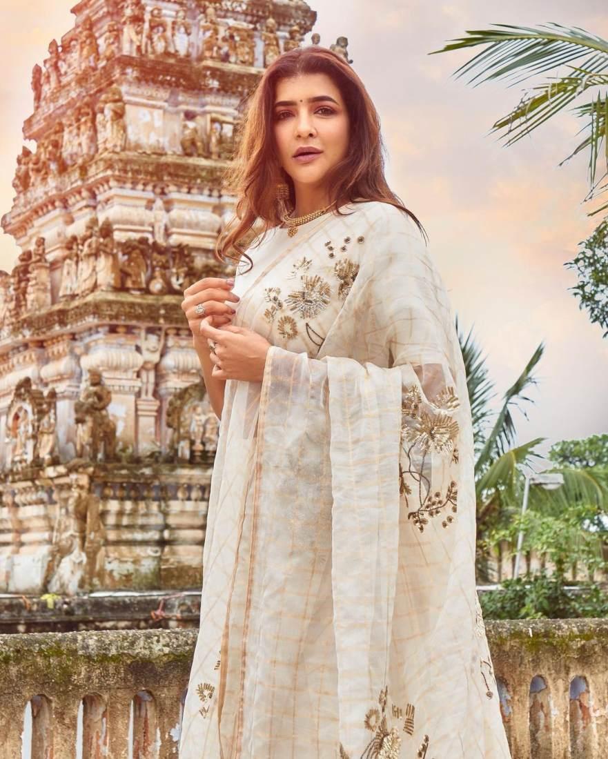 Lakshmi Manchu in a white saree-3