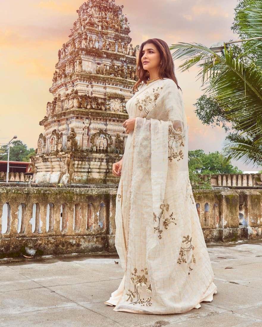 Lakshmi Manchu in a white saree