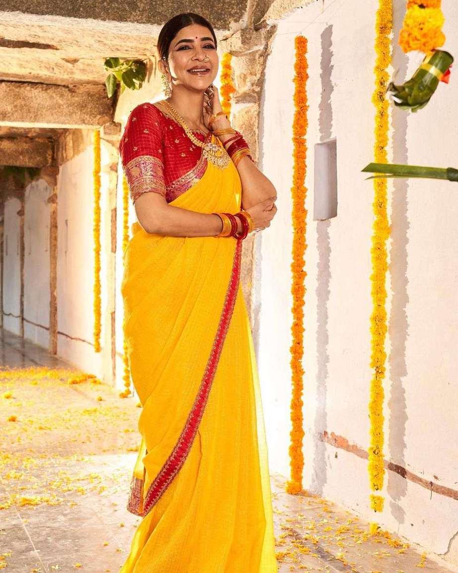 Lakshmi Manchu in a yellow silk saree-1