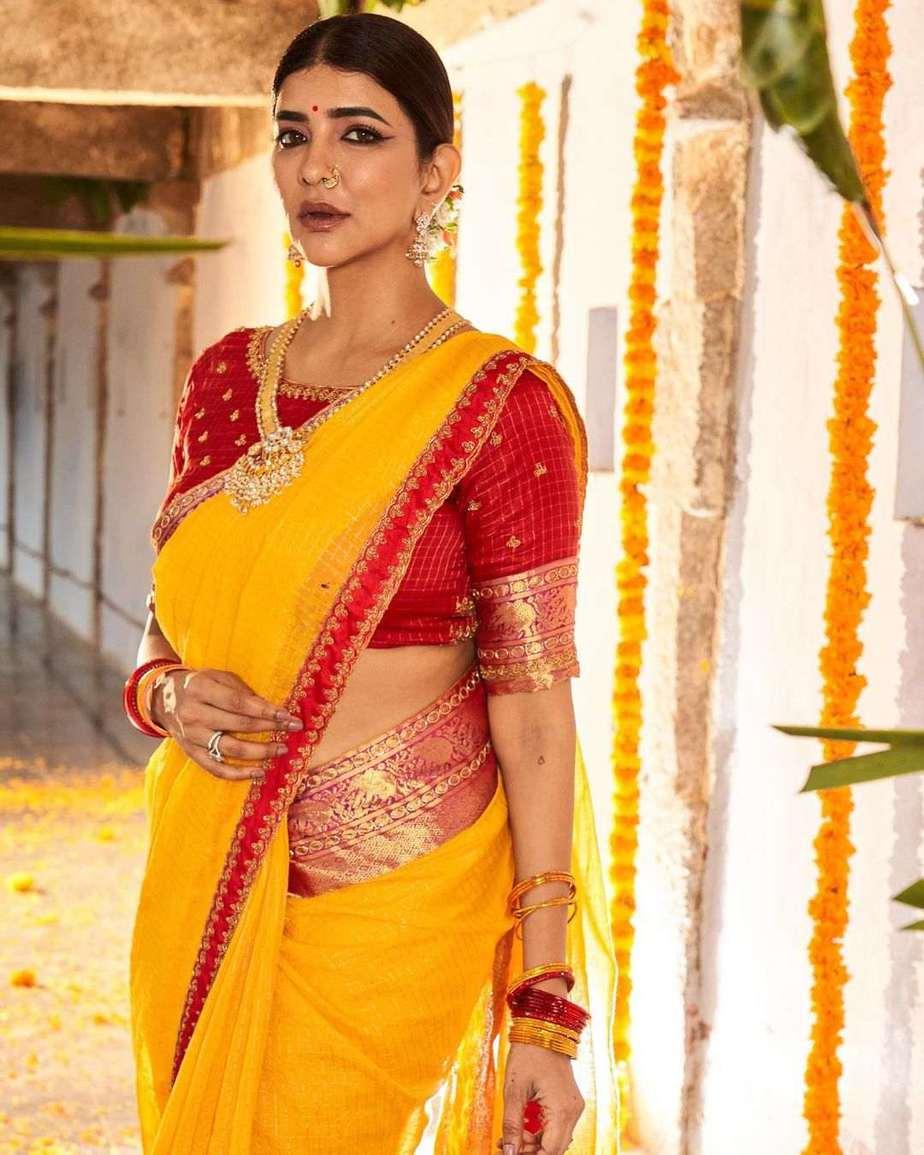 Lakshmi Manchu in a yellow silk saree-2