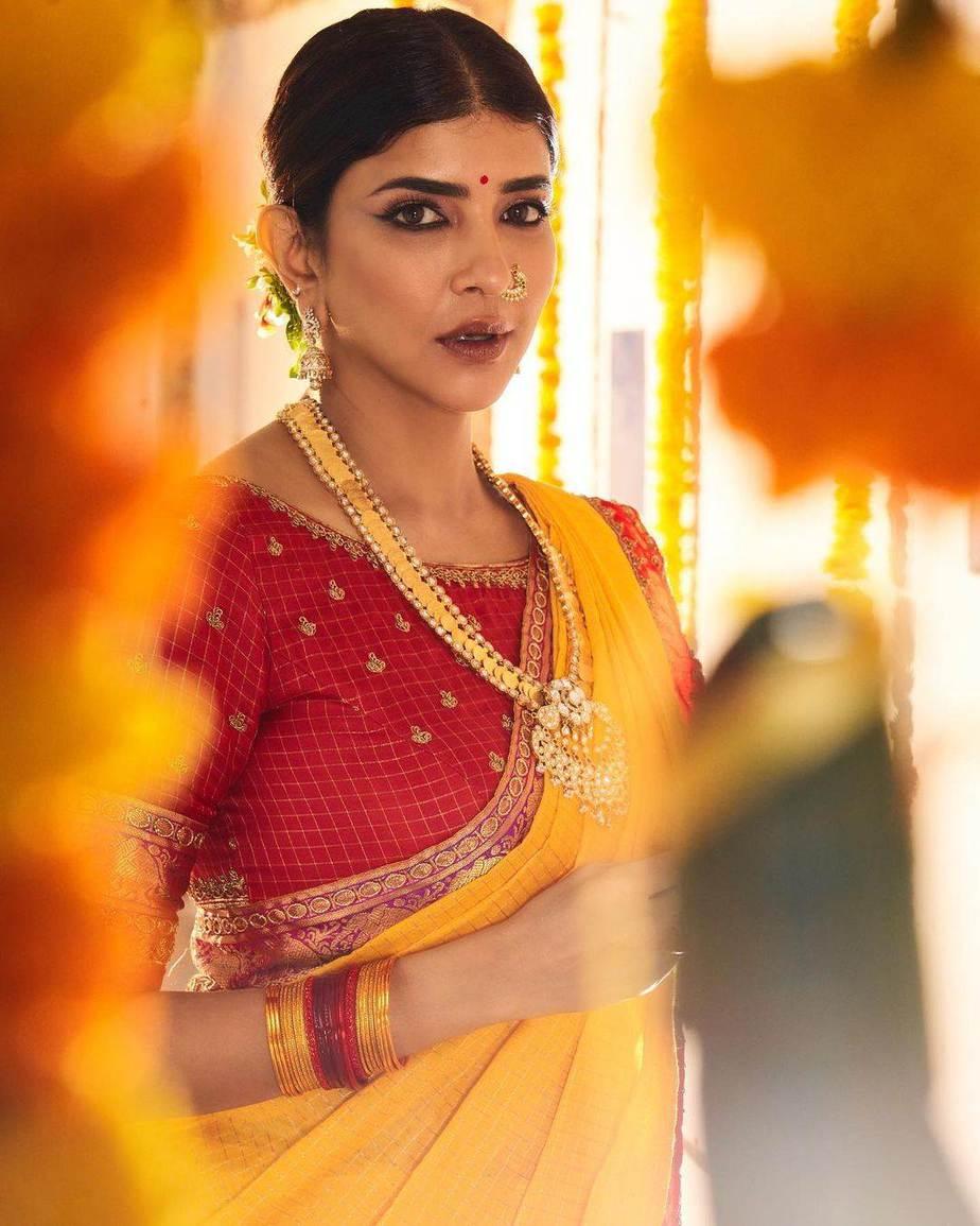Lakshmi Manchu in a yellow silk saree-3