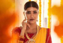 Lakshmi Manchu in a yellow silk saree-4