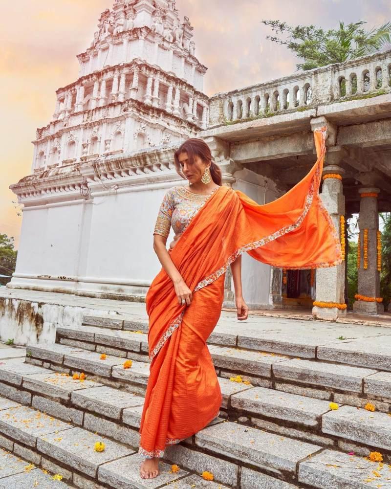 Lakshmi Manchu in an orange saree-1