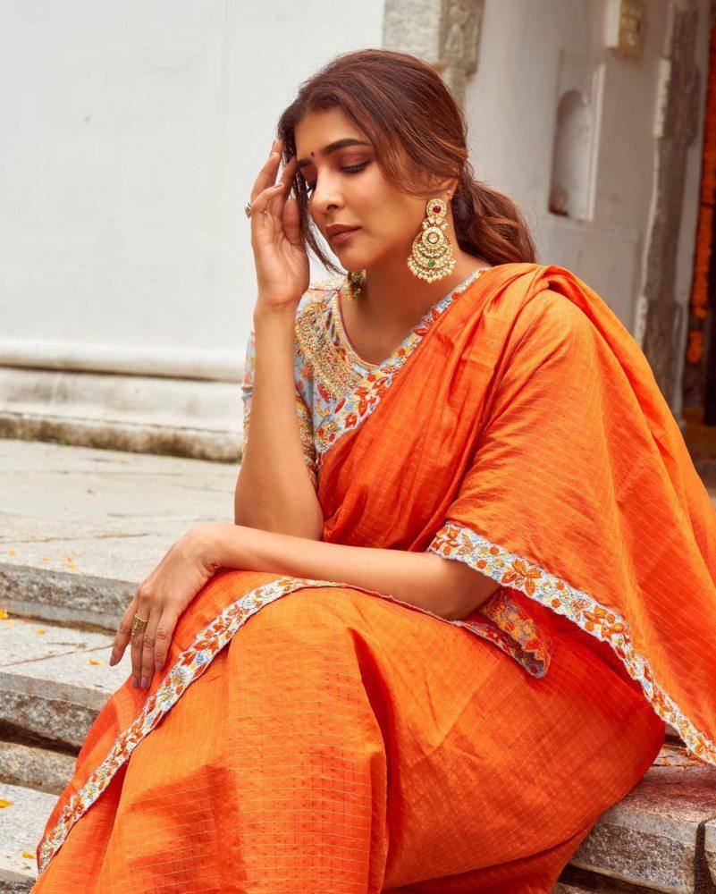Lakshmi Manchu in an orange saree-3