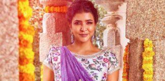 Lakshmi manchu in a lavender saree-2