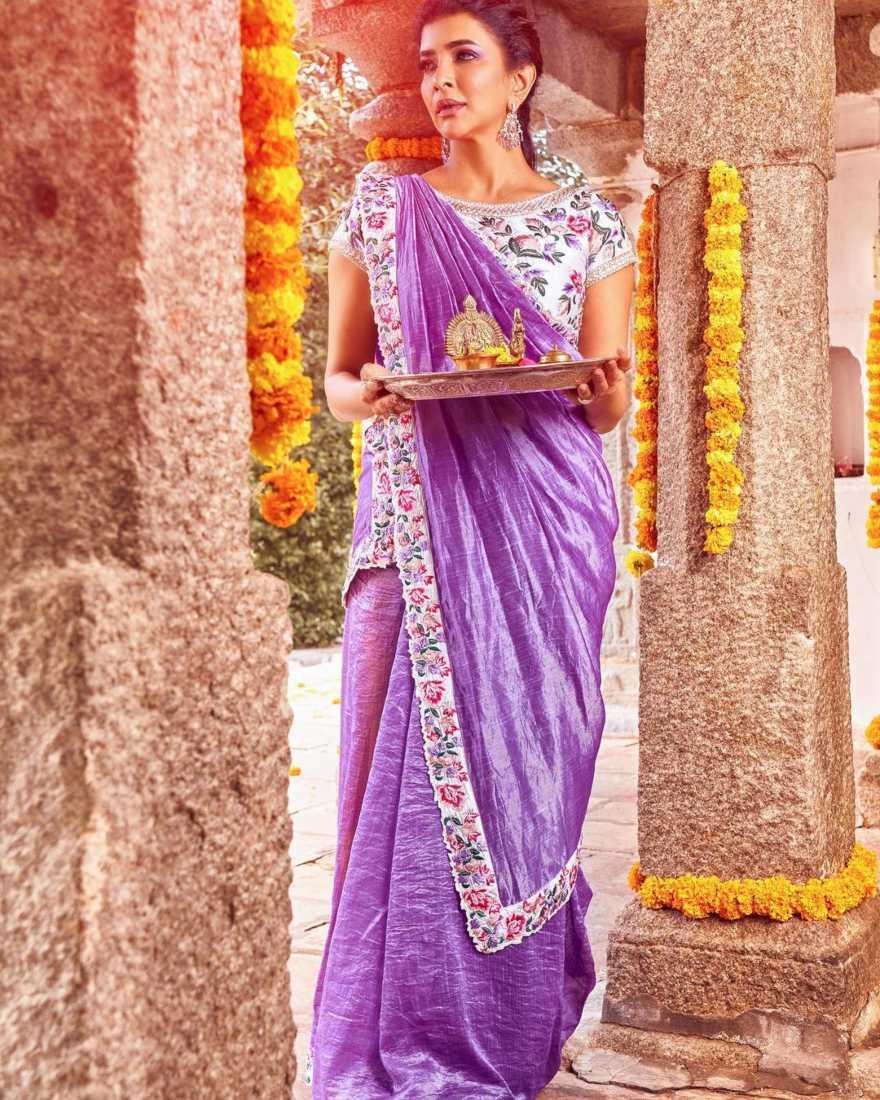 Lakshmi manchu in a lavender saree