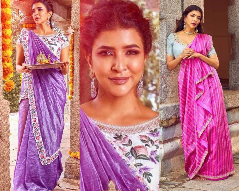 Lakshmi manchu in lavender and pink sarees -Featured