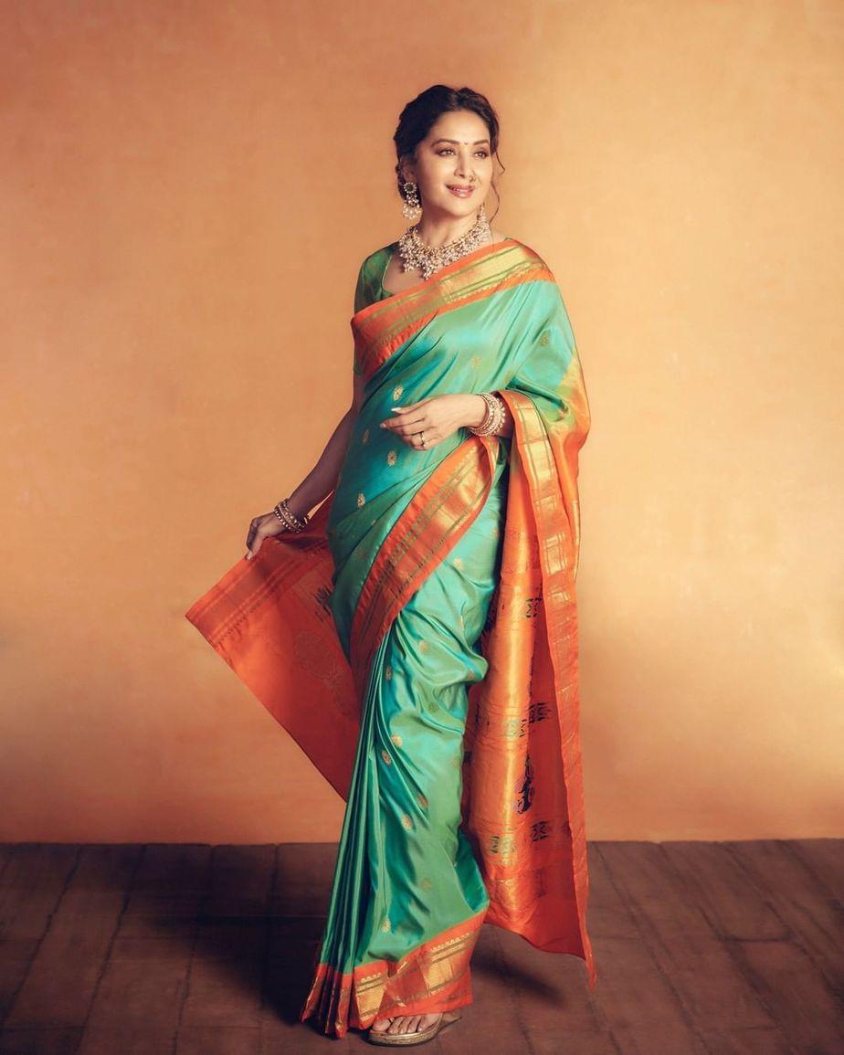 Madhuri Dixit in a green paithani saree by Madhurya creations for dance deewane-1