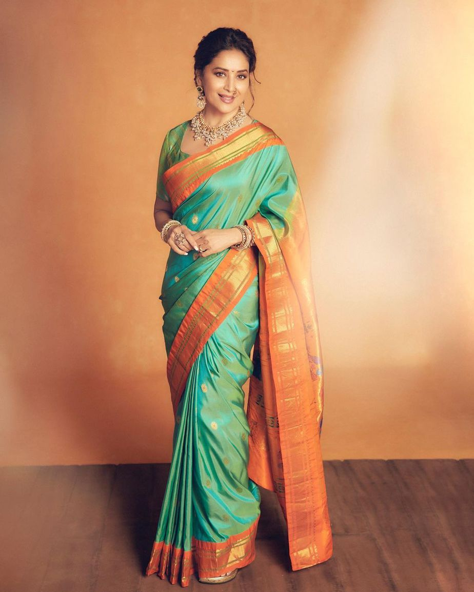 Madhuri Dixit in a green paithani saree by Madhurya creations for dance deewane-2