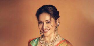 Madhuri Dixit in a green paithani saree by Madhurya creations for dance deewane-3